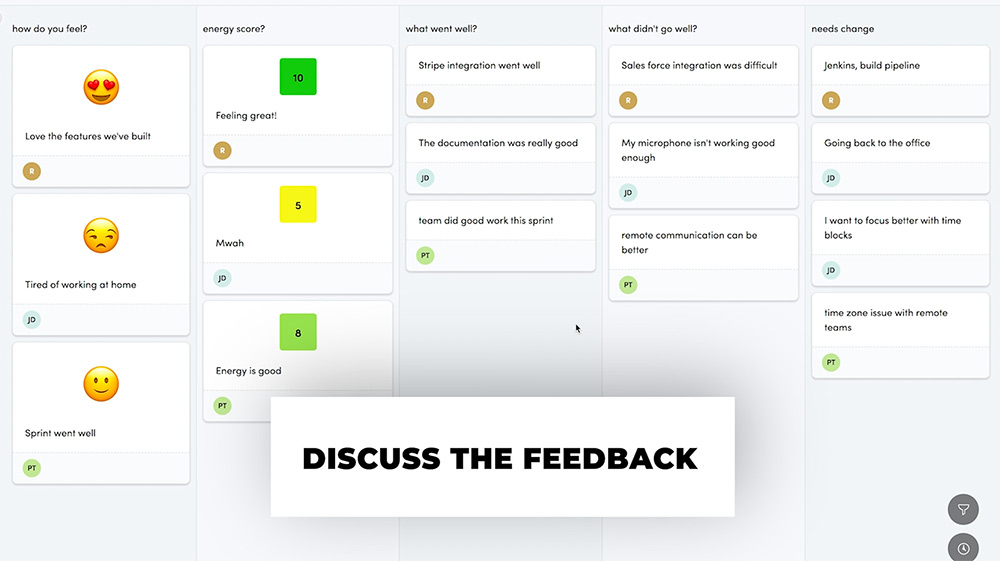 Discuss the retrospective feedback within your team